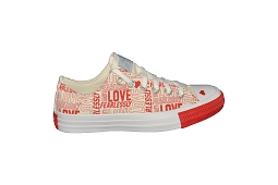 JR CORE HI ALL STAR OX:Toile/Rouge/Imprimé/