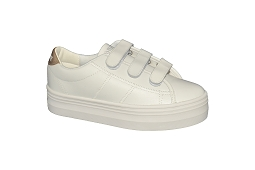 PLATO M STRAPPS<br>Cuir Blanc Or